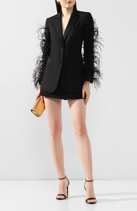 Женский жакет с отделкой перьями VALENTINO черного цвета, арт. TB3CE1S554S   Фото 2
