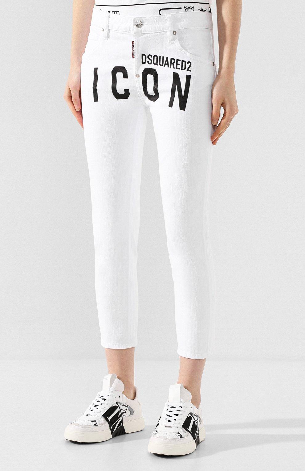 Женские джинсы DSQUARED2 белого цвета, арт. S80LA0003/S39781 | Фото 3
