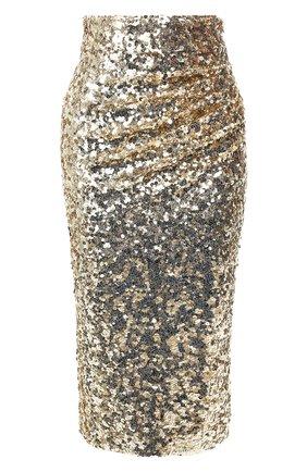 Женская юбка с пайетками DOLCE & GABBANA золотого цвета, арт. F4BS1T/HLMZM | Фото 1