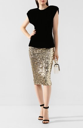 Женская юбка с пайетками DOLCE & GABBANA золотого цвета, арт. F4BS1T/HLMZM | Фото 2