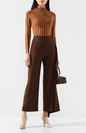 Женские шерстяные брюки BURBERRY коричневого цвета, арт. 8025243 | Фото 2