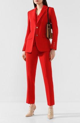Женские шерстяные брюки BURBERRY красного цвета, арт. 8024806 | Фото 2