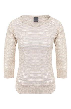 Женский пуловер из смеси хлопка и вискозы LORENA ANTONIAZZI бежевого цвета, арт. P2070BM028/2749   Фото 1