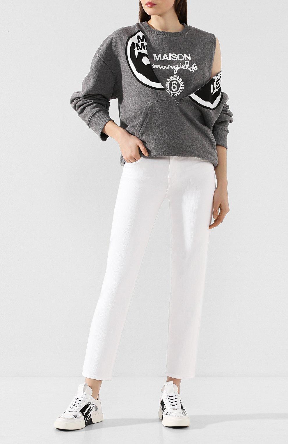 Женские джинсы J BRAND белого цвета, арт. JB002692   Фото 2 (Кросс-КТ: Деним; Длина (брюки, джинсы): Стандартные; Материал внешний: Хлопок, Деним; Стили: Кэжуэл; Статус проверки: Проверена категория)