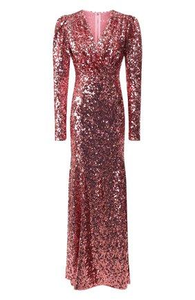 Женское платье-макси DOLCE & GABBANA розового цвета, арт. F6H0UT/HLMZM | Фото 1
