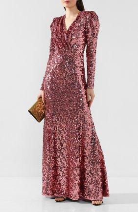 Женское платье-макси DOLCE & GABBANA розового цвета, арт. F6H0UT/HLMZM | Фото 2