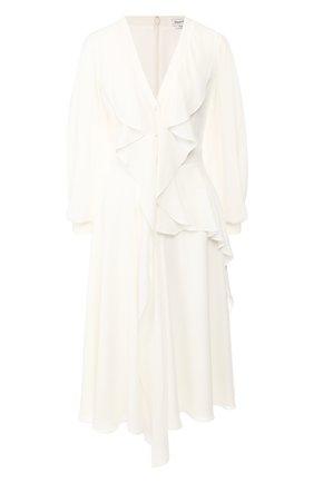 Женское шелковое платье ALEXANDER MCQUEEN белого цвета, арт. 605638/QBAAF | Фото 1
