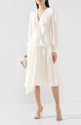 Женское шелковое платье ALEXANDER MCQUEEN белого цвета, арт. 605638/QBAAF | Фото 2