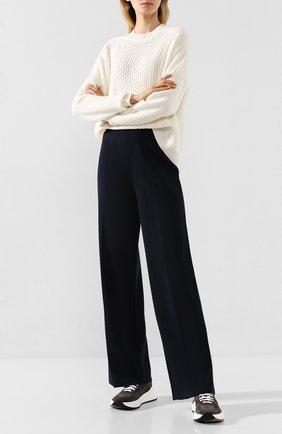 Женские брюки из смеси шелка и хлопка LORO PIANA темно-синего цвета, арт. FAI9456 | Фото 2