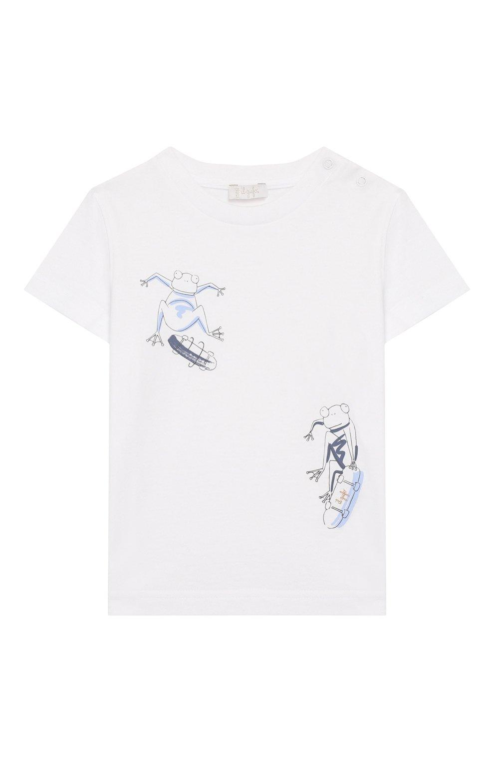 Детский хлопковая футболка IL GUFO белого цвета, арт. P20TS230M0014/24M | Фото 1 (Рукава: Короткие; Материал внешний: Хлопок)