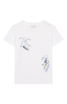 Детский хлопковая футболка IL GUFO белого цвета, арт. P20TS230M0014/24M | Фото 1