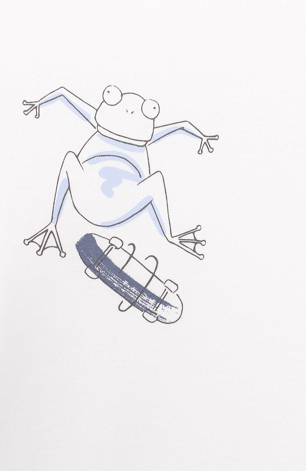 Детский хлопковая футболка IL GUFO белого цвета, арт. P20TS230M0014/24M | Фото 3 (Рукава: Короткие; Материал внешний: Хлопок)