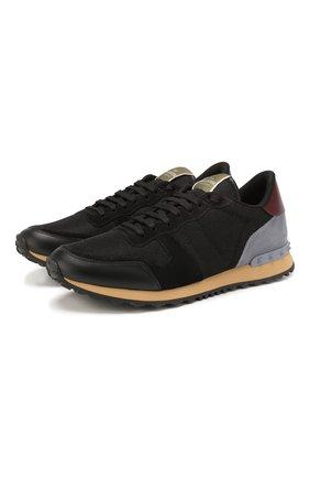 Мужские комбинированные кроссовки valentino garavani rockrunner VALENTINO черного цвета, арт. TY2S0723/TCV | Фото 1