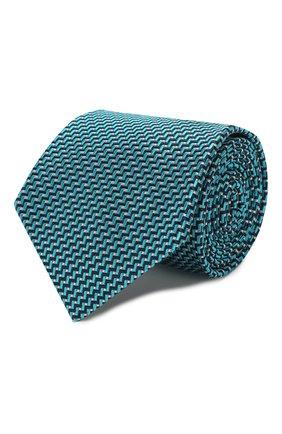 Мужской шелковый галстук BRIONI бирюзового цвета, арт. 062H00/P9441 | Фото 1