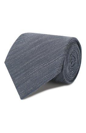 Мужской галстук из смеси шелка и льна BRIONI голубого цвета, арт. 062I00/P9451 | Фото 1