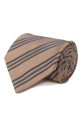 Мужской шелковый галстук BRIONI бежевого цвета, арт. 062I00/P9481 | Фото 1
