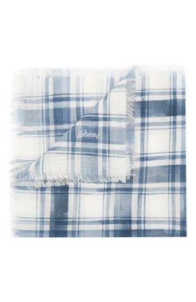 Мужской платок из смеси хлопка и шелка BRIONI голубого цвета, арт. 071300/P940K | Фото 1