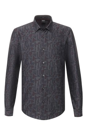 Мужская хлопковая рубашка BOSS серого цвета, арт. 50421086 | Фото 1