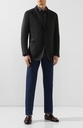 Мужская хлопковая рубашка BOSS серого цвета, арт. 50421086 | Фото 2