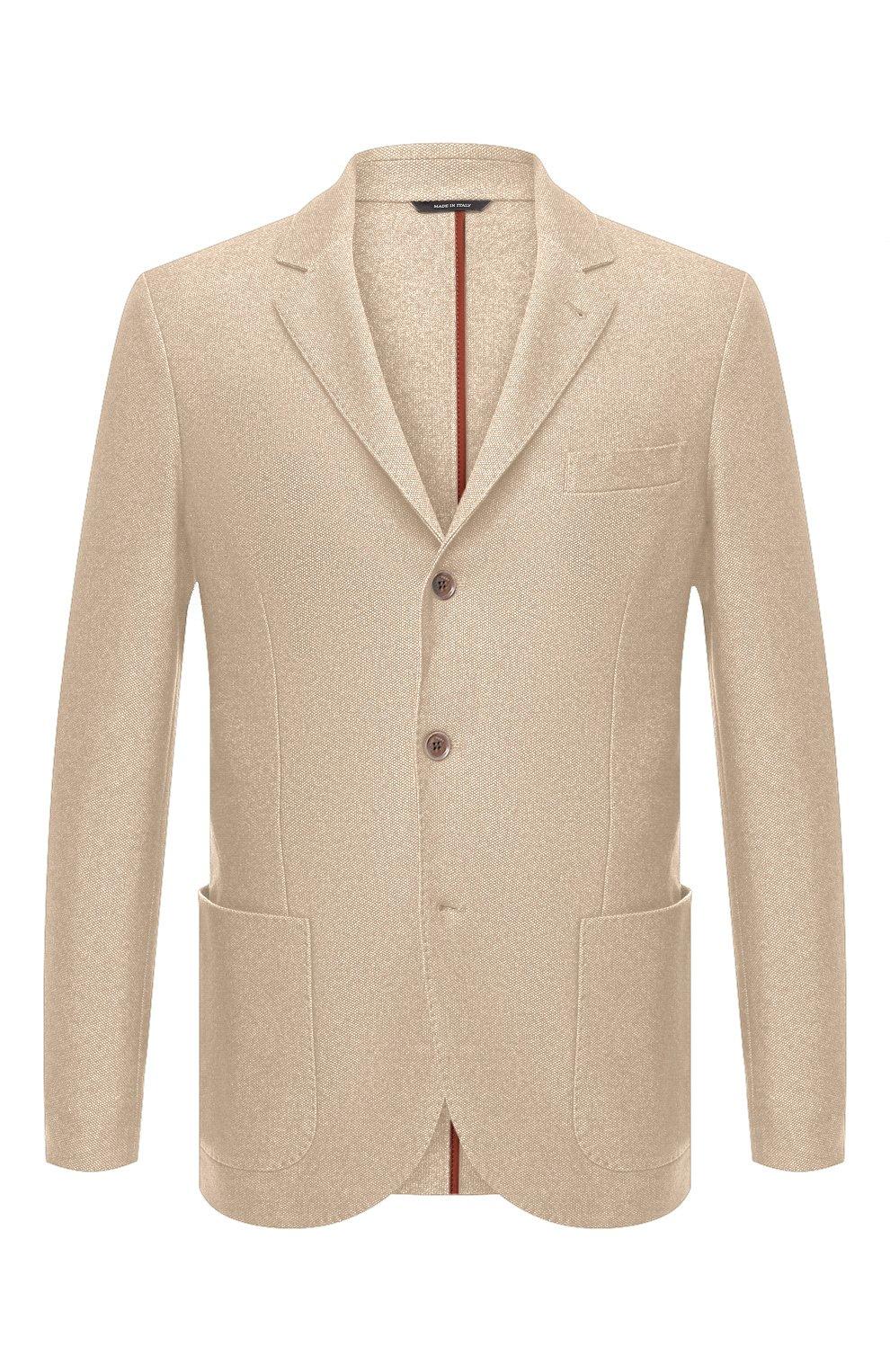 Мужской пиджак из шелка и кашемира LORO PIANA бежевого цвета, арт. FAI2572   Фото 1