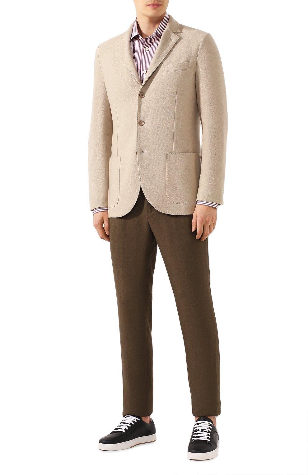 Мужской пиджак из шелка и кашемира LORO PIANA бежевого цвета, арт. FAI2572   Фото 2