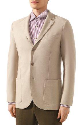 Мужской пиджак из шелка и кашемира LORO PIANA бежевого цвета, арт. FAI2572   Фото 3