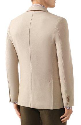 Мужской пиджак из шелка и кашемира LORO PIANA бежевого цвета, арт. FAI2572   Фото 4