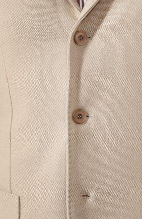 Мужской пиджак из шелка и кашемира LORO PIANA бежевого цвета, арт. FAI2572   Фото 5