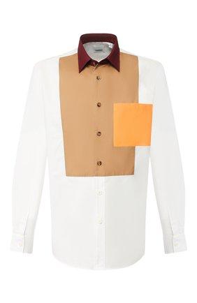 Мужская хлопковая рубашка BURBERRY белого цвета, арт. 8026174 | Фото 1
