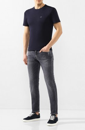 Мужская хлопковая футболка C.P. COMPANY темно-синего цвета, арт. 08CMTS108A-005100W | Фото 2