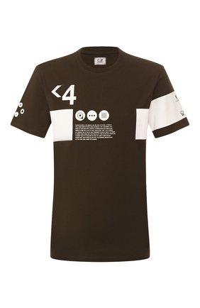 Мужская хлопковая футболка C.P. COMPANY хаки цвета, арт. 08CMTS170A-005679W | Фото 1