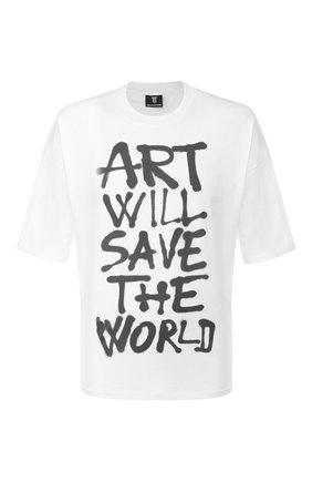 Мужская хлопковая футболка DIEGO VENTURINO белого цвета, арт. SS20-DV TSK AWS | Фото 1