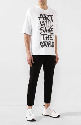 Мужская хлопковая футболка DIEGO VENTURINO белого цвета, арт. SS20-DV TSK AWS | Фото 2