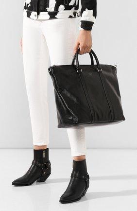 Женский сумка-тоут supple SAINT LAURENT черного цвета, арт. 608958/1R00E   Фото 2 (Размер: large; Материал: Натуральная кожа; Сумки-технические: Сумки-шопперы)