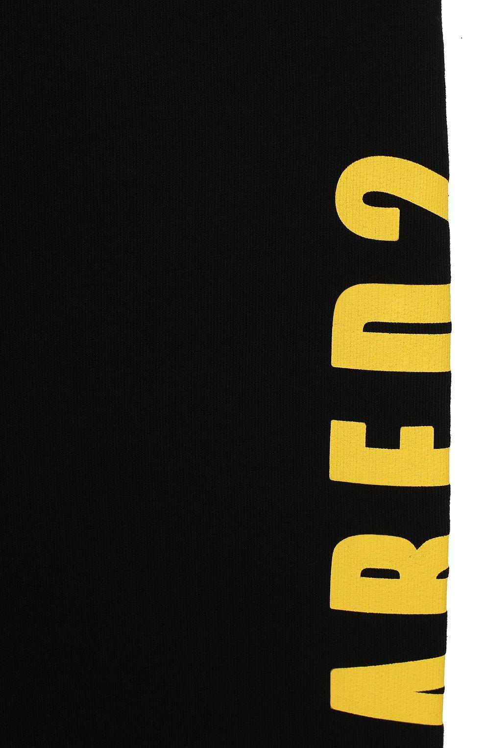Детские хлопковые джоггеры DSQUARED2 черного цвета, арт. DQ03MH-D00RG | Фото 3 (Мальчики Кросс-КТ: Брюки-спорт; Материал внешний: Хлопок; Ростовка одежда: 10 - 11 лет | 140 - 146см, 4 года | 104 см, 6 лет | 116 см, 8 лет | 128 см)
