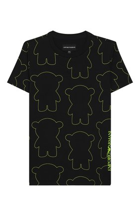 Детская хлопковая футболка EMPORIO ARMANI черного цвета, арт. 3H4TG6/3J2IZ | Фото 1
