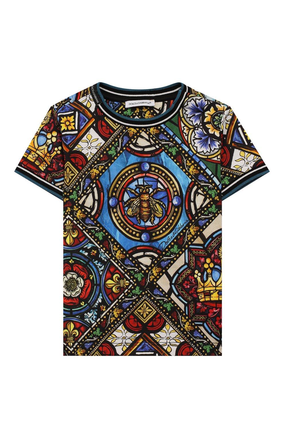 Детский хлопковая футболка DOLCE & GABBANA разноцветного цвета, арт. L1JT6M/HS7AI | Фото 1