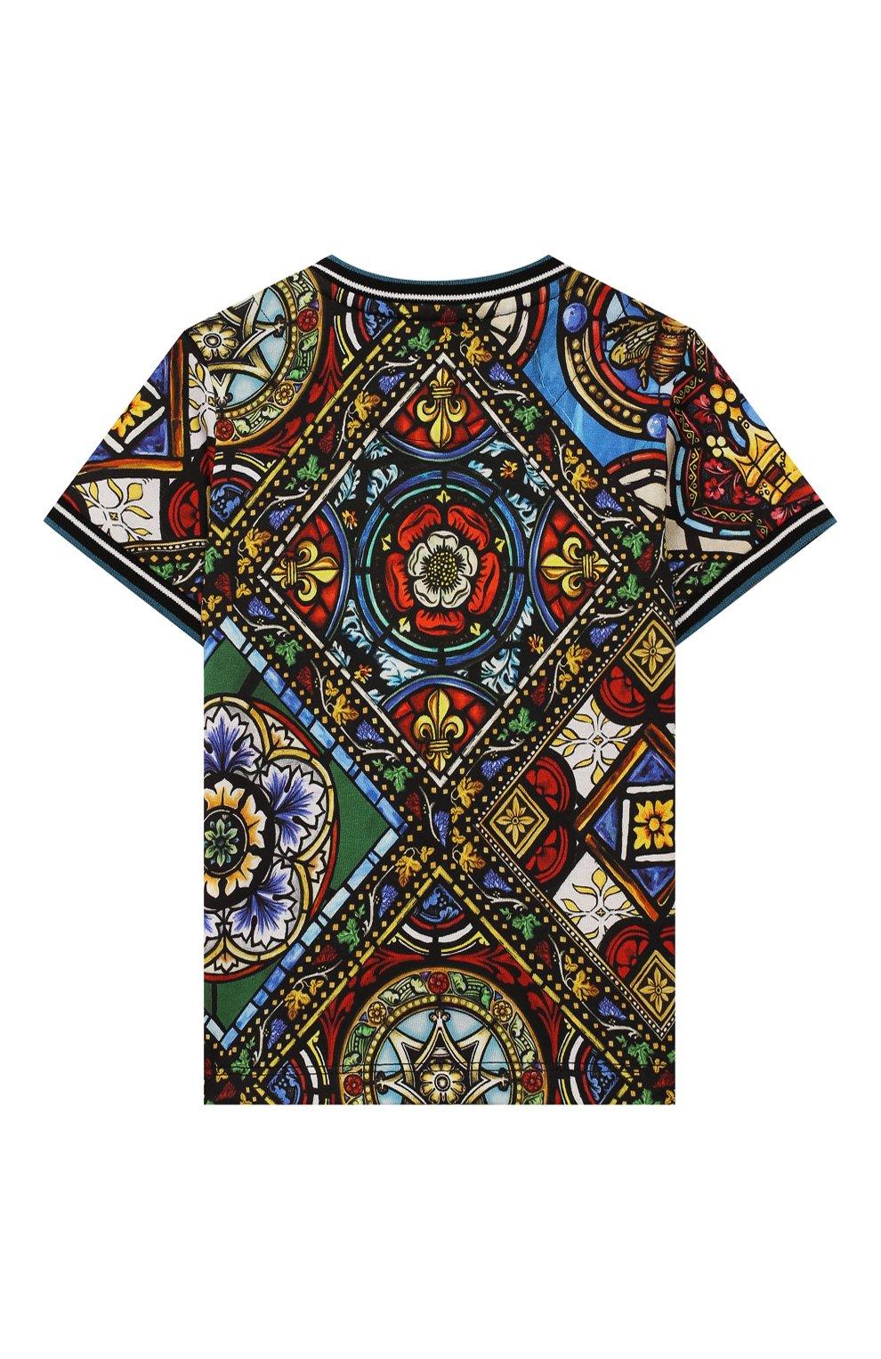 Детский хлопковая футболка DOLCE & GABBANA разноцветного цвета, арт. L1JT6M/HS7AI | Фото 2