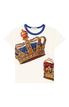 Детский хлопковая футболка DOLCE & GABBANA белого цвета, арт. L1JT6S/G7VJR | Фото 1