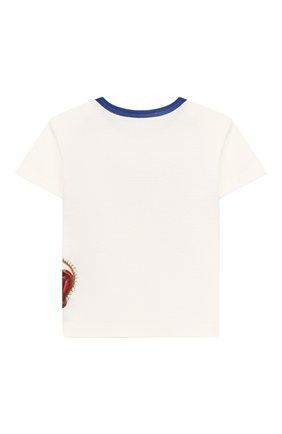 Детский хлопковая футболка DOLCE & GABBANA белого цвета, арт. L1JT6S/G7VJR | Фото 2
