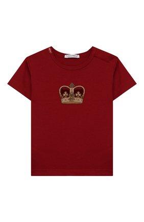 Детский хлопковая футболка DOLCE & GABBANA красного цвета, арт. L1JT6S/G7VJS | Фото 1