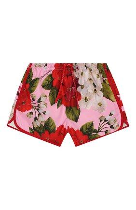 Детского плавки-шорты DOLCE & GABBANA розового цвета, арт. L5JQ51/HSM26/2-6   Фото 1
