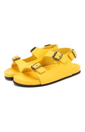 Детские кожаные сандалии GALLUCCI желтого цвета, арт. T10029AM/SA T G0M D0L | Фото 1