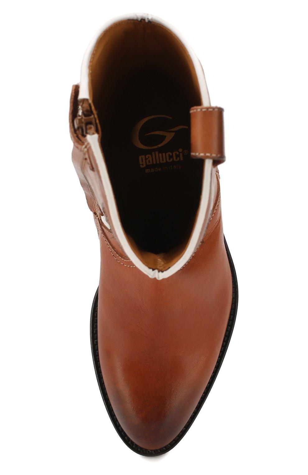 Детские кожаные сапоги GALLUCCI коричневого цвета, арт. J30080AM/TR P V CUG MAI/NAP | Фото 4 (Кросс-КТ: полусапоги; Материал внутренний: Натуральная кожа)