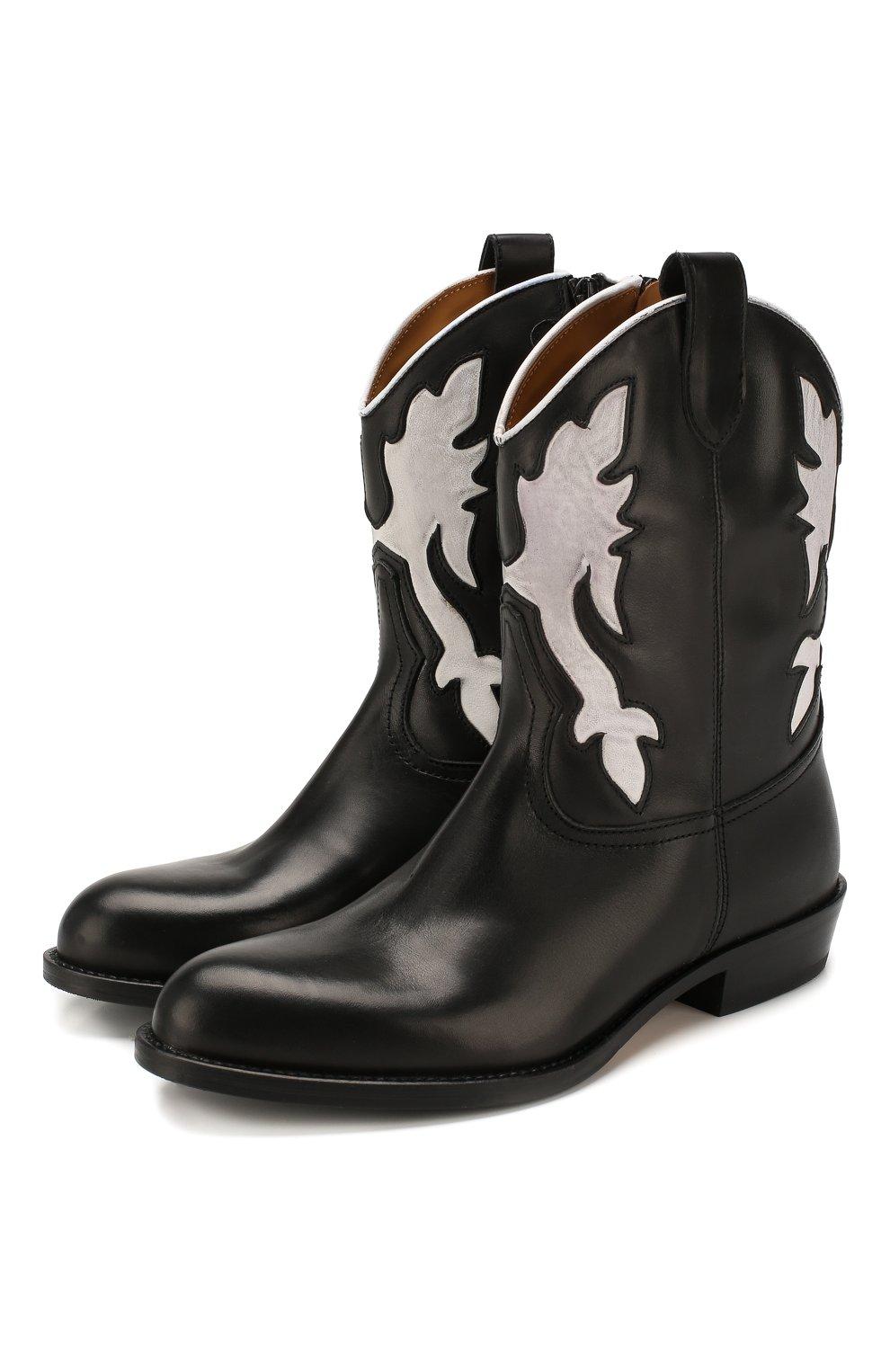 Детские кожаные сапоги GALLUCCI черного цвета, арт. J30080AM/TR P V CUG MAI/NAP   Фото 1 (Кросс-КТ: полусапоги; Материал внутренний: Натуральная кожа)