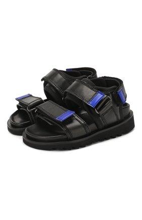 Детские кожаные сандалии GALLUCCI черного цвета, арт. J10078AM/SA P C G0M KY0/RAD | Фото 1
