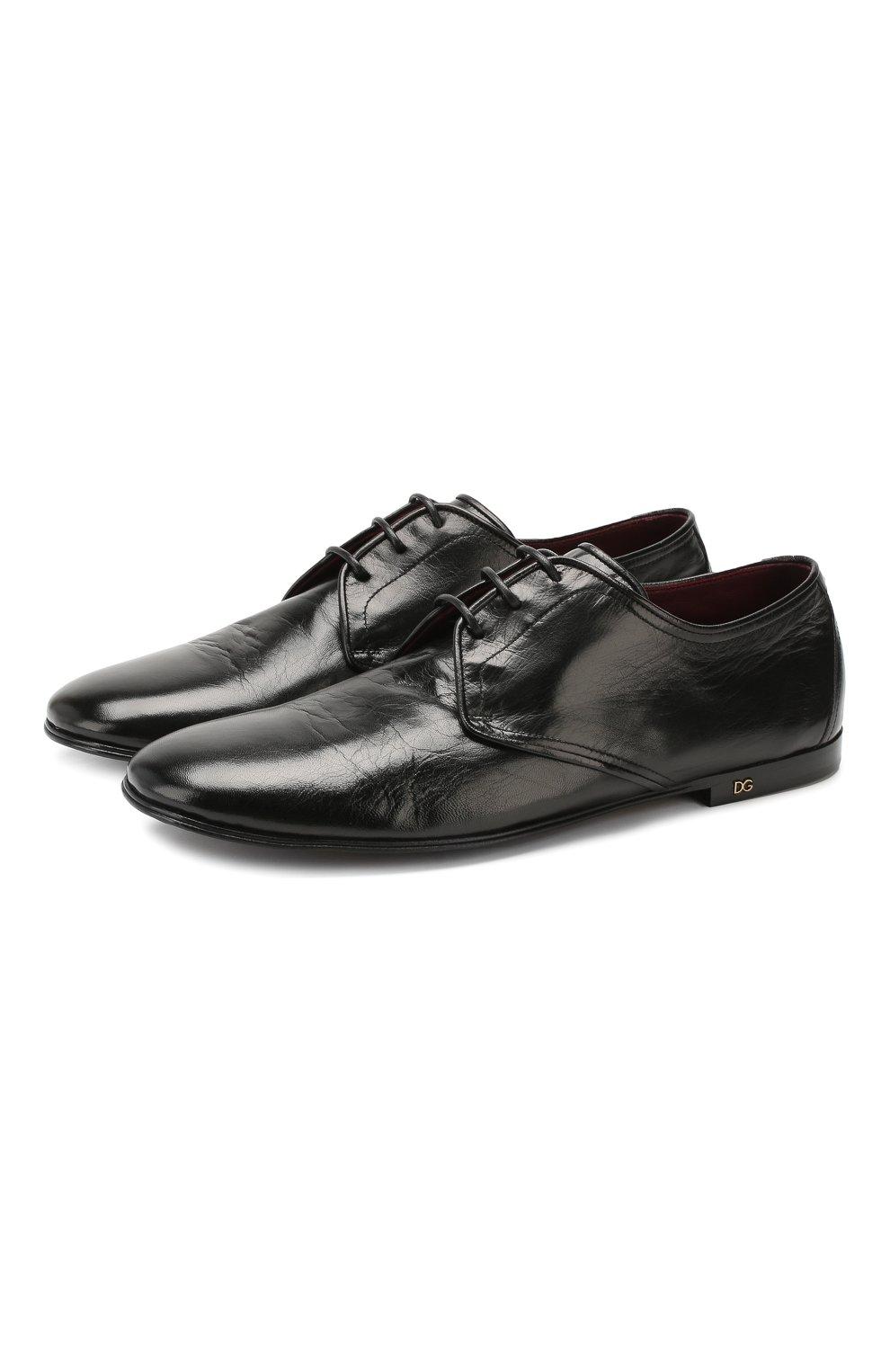 Мужские кожаные дерби erice DOLCE & GABBANA черного цвета, арт. A10549/AX199 | Фото 1