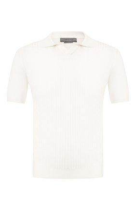 Мужское поло из смеси шелка и хлопка CORNELIANI белого цвета, арт. 85M566-0125191/00 | Фото 1