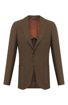 Мужской льняной пиджак LORO PIANA хаки цвета, арт. FAL0969 | Фото 1