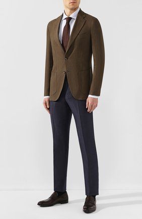 Мужской льняной пиджак LORO PIANA хаки цвета, арт. FAL0969 | Фото 2